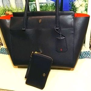 Tory Burch NAVY Parker tote & Wallet